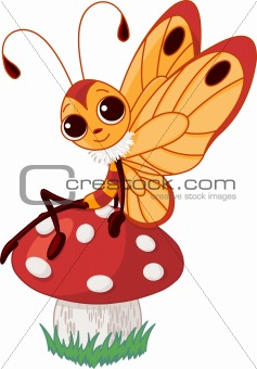 Cute butterfly on mushroom