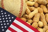 Baseball, US Flag and Peanuts, American Tradition