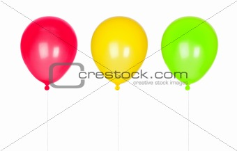 Three colorful balloons inflated