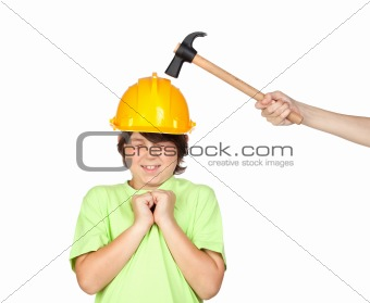 Frightened child with yellow helmet