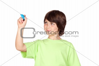 Child with blue pen writing
