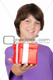 Boy with a gift with focus on the hand -DOF-