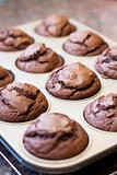 Twelve chocolate muffins cooling off