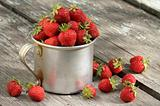 garden strawberries in mug