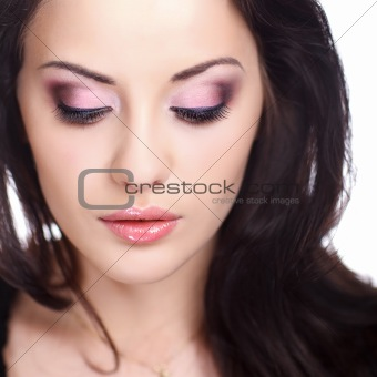 woman with false eyelashes