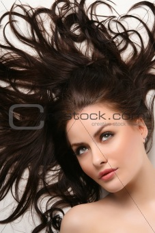 beautiful woman with clean shiny hair