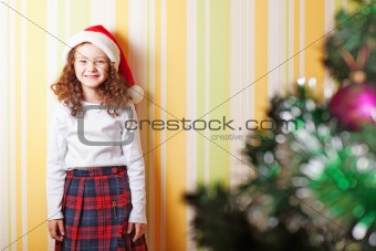 little girl near wall