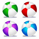 Set of coloured beach balls