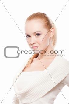 beautiful woman on white