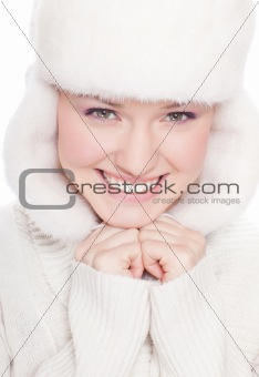 beautiful woman on white