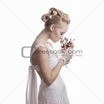bride with dry flowers