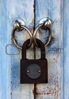 Old padlock close-up