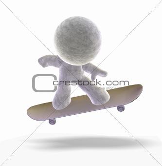 Skateboarding 3D man