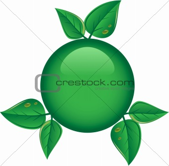Green button with leaves