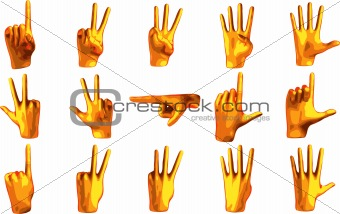 Counting orange hand isolated on white background (vector)
