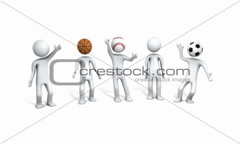 Men Playing Basketball, Football, Tennis, Baseball, Golf and Soccer.