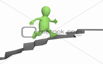 Puppet, jumping through a crack