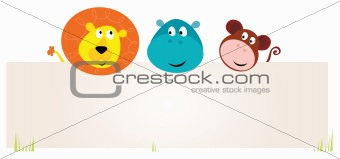 Cute three safari animals holding blank sign for your message