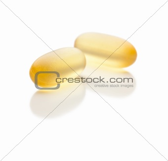 Omega 3 Fish Oil Supplement Capsules Isolated on a White Background.