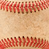 Macro Abstract Detail of Worn Leather Baseball.