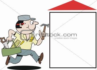 Carpenter tradesman cartoon