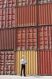 businessman with cargo containers