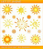 Let it shine / Vector sun icon set