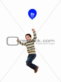 Child flying with blue balloon inflated