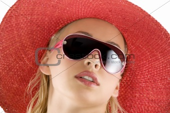 portrait with red hat and sunglasses