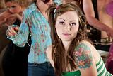 Young woman at 1970s Disco Music Party
