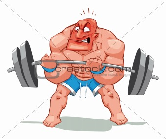 Image Description: Muscle man, funny cartoon and vector character ...