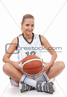 Attractive basketball player with soft smile