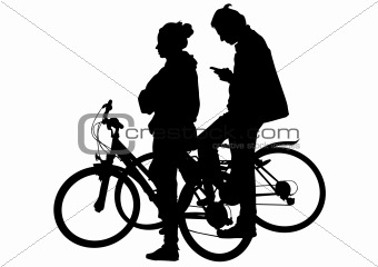 Cyclist boy and girl
