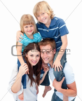 Adorable family enjoying piggyback ride
