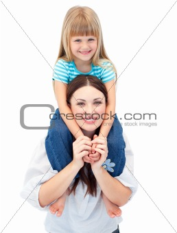 Smiling brunette mother giving her daughter piggyback ride