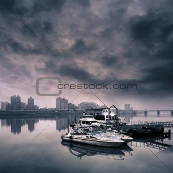 Cityscape of harbor