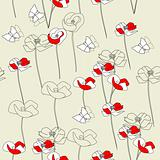 Seamless wallpaper with poppy flowers