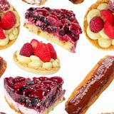 Pies and tarts seamless wallpaper
