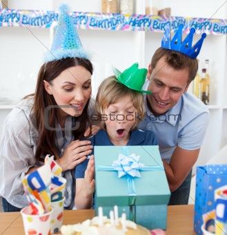 Blond child celebrating his birthday