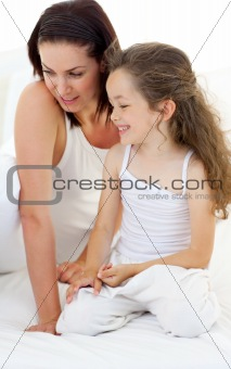 Portrait of an attractive mother with her daughter