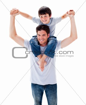Charming father and his boy playing together