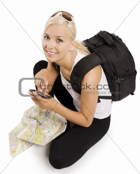 blond tourist with gps