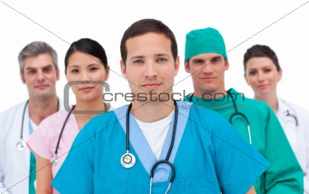Portrait of a serious medical team