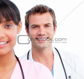 Portrait of two joyful doctors