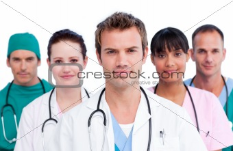 Portrait of a concentrated medical team