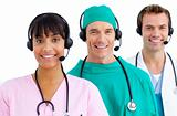 Happy medical team using headsets