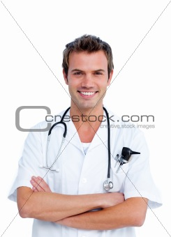 Portrait of a caucasian male doctor holding a stethoscope