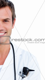 Portrait of a smiling male doctor holding a stethoscope