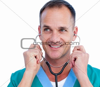 Portrait of a charismatic male doctor holding a stethoscope