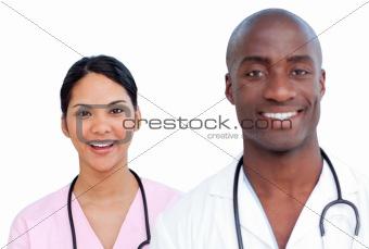 Portrait of two enthusiastic doctors